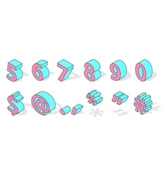 Isometric numbers isolated vector image