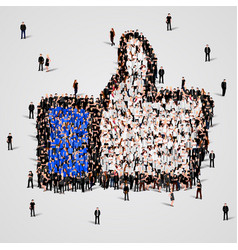 large group of people in the like sign shape vector image vector image