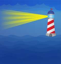 Light house on the sea at night vector