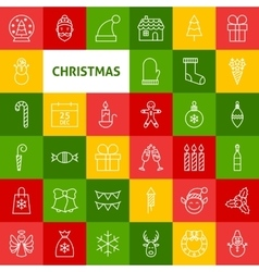 Line christmas icons vector