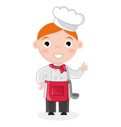 Little boy in cook uniform with ladle vector