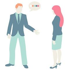 Men and women communicate flat design pastel vector