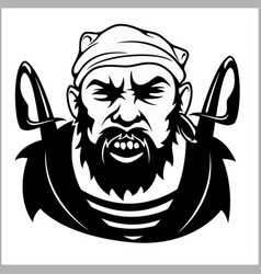 Pirate captain holding two swords and bandanna vector