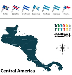 Political map of central america with flags vector