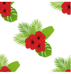 Red hibiscus and palm leaves seamless pattern vector