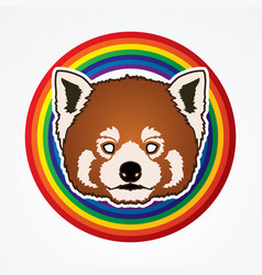 Red panda head cartoon bear face vector