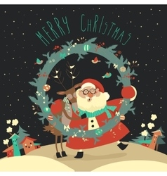 Reindeer and santa embracing each other vector