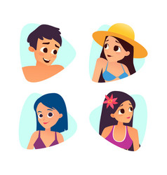 set of summer cartoon avatars cartoon style vector image