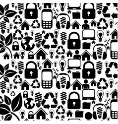 Silhouette pattern with storage tech device vector