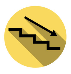 Stair down with arrow flat black icon vector