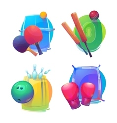 Tennis and cricket bowling boxing equipment vector