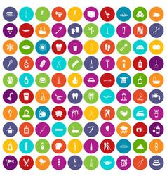 100 hygiene icons set color vector