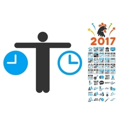 Compare time icon with 2017 year bonus pictograms vector