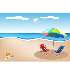 Beach chairs with umbrella and toy vector
