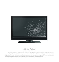 broken computer monitor the screen cracked vector image