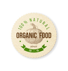 Organic food round paper emblem vector