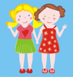 two little girls waving vector image