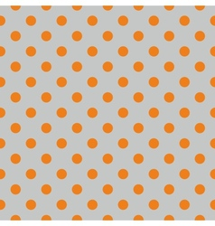 Tile pattern orange polka dots on grey background vector