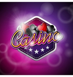 Casino with poker symbols and shiny t vector
