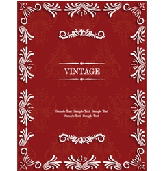 Red vintage background with floral vector