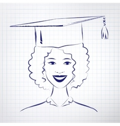 Student girl wearing graduation hat vector
