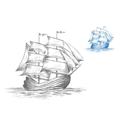 Sketch of sailing ship under full sail vector