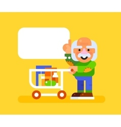 Elderly man with trolley at supermarket vector