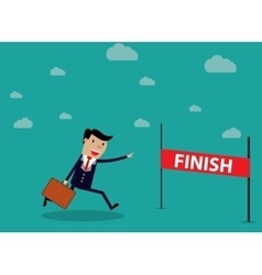 Businessman run cross finish line vector