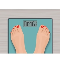 Feet on weighing scales top view health concept vector
