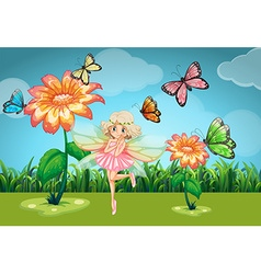 Fairy and butterflies in the garden vector