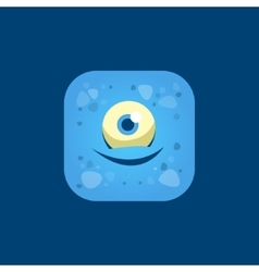 Pleased blue monster emoji icon vector