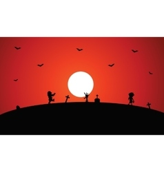 Zombie halloween with full moon backgrounds vector
