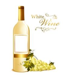 bottle of white wine vector image vector image
