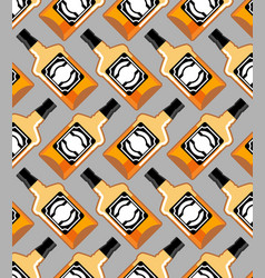 Bottle scotch seamless pattern whiskey ornament vector