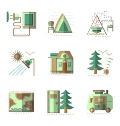 Camping flat color icons set vector image