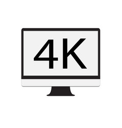 computer monitor 4k on white background computer vector image vector image