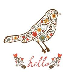 Concept hello card with floral decorative bird vector