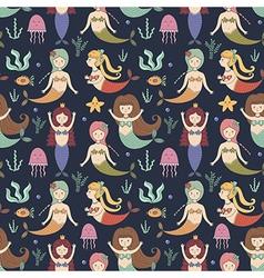 Cute mermaids seamless pattern vector