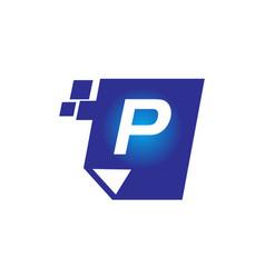 digital paper initial p vector image vector image