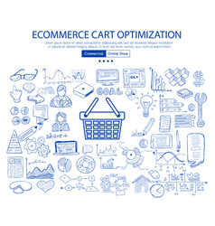 Ecommerce cart optimization concept with business vector