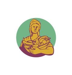Female Organic Farmer Basket Harvest Circle vector image