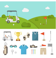 golf equipment set and lawn picture vector image