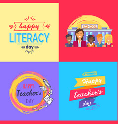 Happy teacher s day collection of colorful posters vector