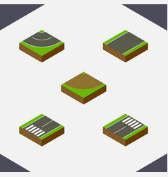 Isometric road set of footer turn unilateral and vector
