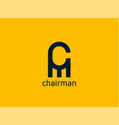 Letter cm logo abstract chair furniture design vector
