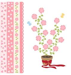 Love flowers and cute ribbon vector