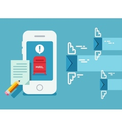 Newsletter Notification on Smart Phone Screen Flat vector image vector image