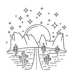 nightly desert road vector image