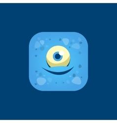 Pleased Blue Monster Emoji Icon vector image vector image