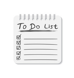 Realistic notepad with spiral to do list icon vector